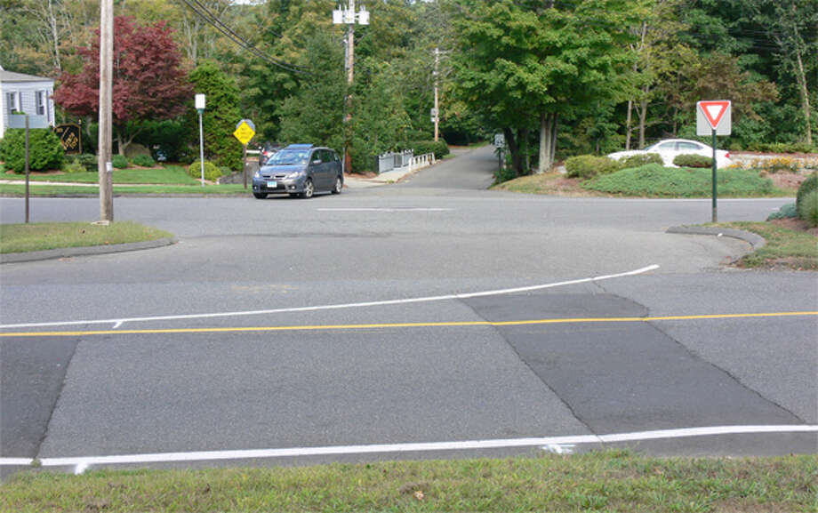 This shows where a crosswalk might be built across Church Street and Huntington Street so people parking at the Shelton Community Center could get to the Shelton Lakes Recreation Path entrance on Lane Street (pictured on the other side, with a vehicle pulling out).
