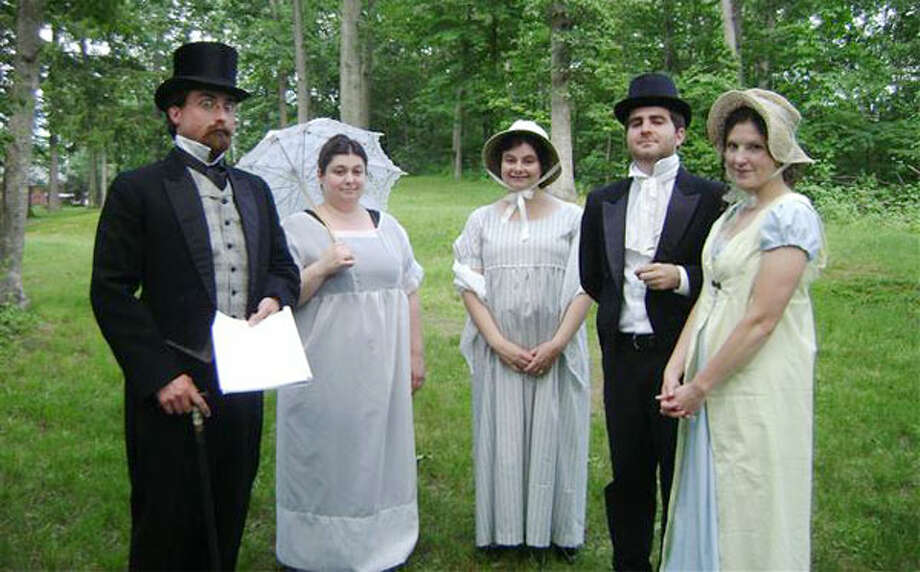 "From left, on the set of Joan Flannery's ""The Inheritance,"" are Cornelius Boyd, Jennifer Canell, Elizabeth Choti-Bayreuther, Bobby Pavia and Alison Flannery."