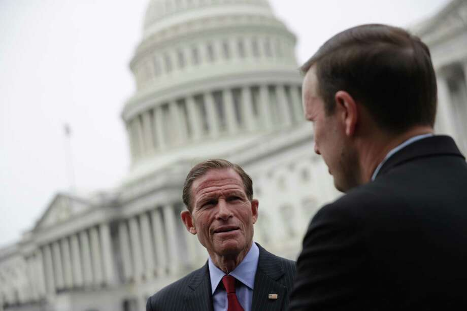 U.S. Sen. Chris Murphy, D-Conn., right, talks to Sen. Richard Blumenthal, D-Conn., prior to a news conference June 5, 2019 on Capitol Hill in Washington, D.C. Photo: Alex Wong / Getty Images / 2019 Getty Images