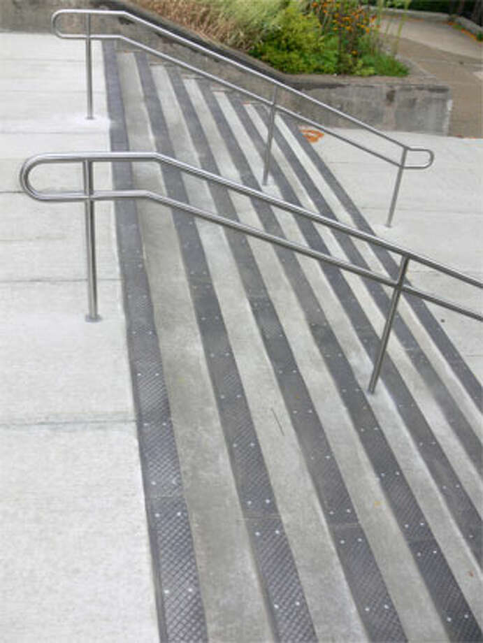 Shelton High School students will use new concrete outdoor steps at the main entrance when they return to school this week.