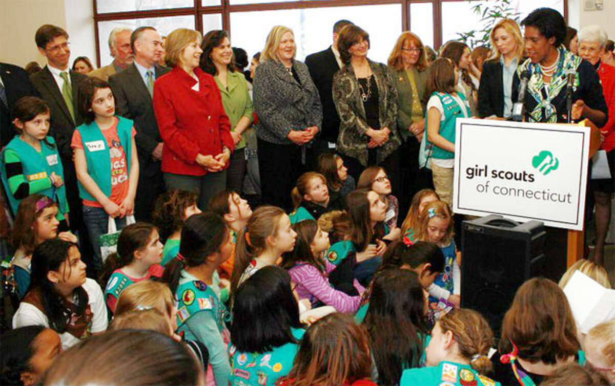 Teresa Younger of Shelton speaks at an event for Girl Scouts Connecticut, a statewide organization she once helped oversee as its board president.