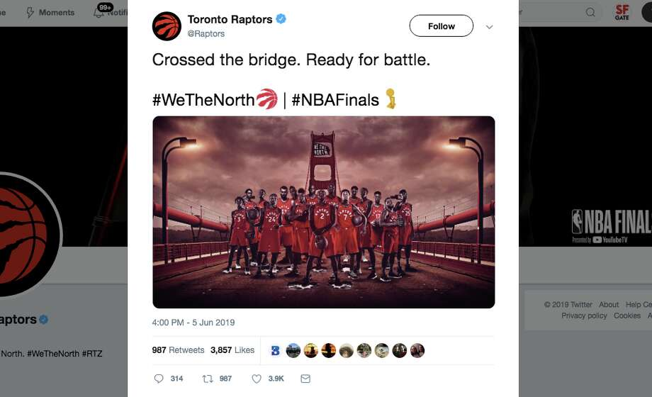 The Toronto Raptors got roasted on Twitter for posting a photo of the Raptors on the Golden Gate Bridge ahead of the Raptors Game 3 match up against the Golden State Warriors in the NBA Finals. Photo: Screenshot Via Twitter