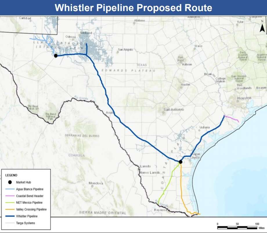 In a statement issued late Wednesday afternoon, Ohio-based MPLX LP, Austin pipeline operator WhiteWater Midstream and a joint venture between New York private equity firm Stonepeak Infrastructure Partners and Midland pipeline operator West Texas Gas announced a final investment decision on the Whistler Pipeline. Spanning some 475 miles, the 42-inch pipeline will move 2 billion cubic feet of natural gas per day from the Waha Hub in the Permian Basin to the Agua Dulce Hub of South Texas. Photo: Targa Resources