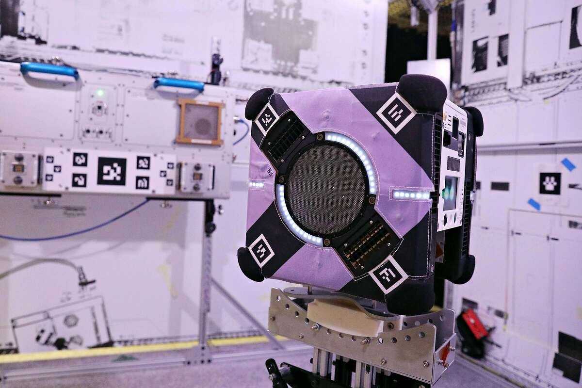 An Astrobee named B Sharp is seen next to a mock up of a genric area at the International Space Station in the Granite Lab at NASA Ames Research Center on Monday, June 3, 2019 in Mountain View, Calif.
