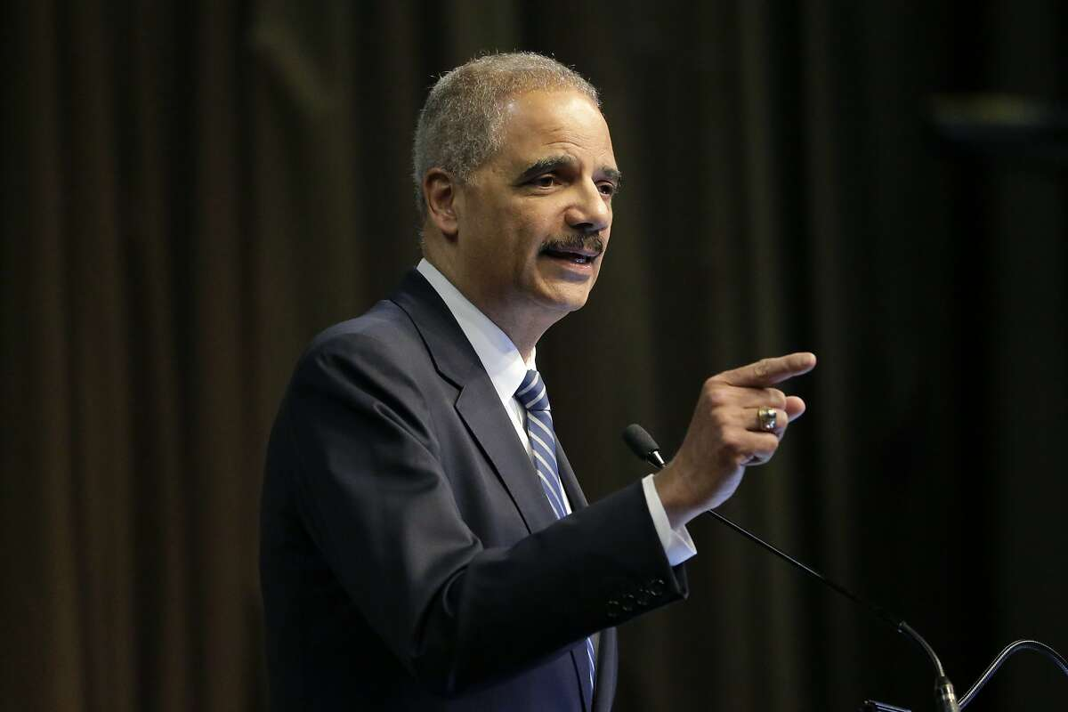 FILE - In this April 3, 2019 file photo, former U.S. Attorney General Eric Holder, Jr. speaks during the National Action Network Convention in New York. A new federal lawsuit being filed Thursday, May 30 by three African American residents of Mississippi seeks to block what it calls the state's racist method of electing the governor and other statewide officials. The lawsuit takes aim at Mississippi's unique requirement that candidates for statewide office must win both a majority of the popular vote and at least 62 of the 122 state House of Representatives districts. Holder said a judge could order Mississippi to do what most states already do -