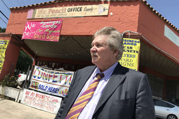 Larry Polinard, owner of Mr. Pencil Office Supply and Adtech Shredco, runs both businesses from what used to be a service station on East Euclid Avenue and North Main Avenue in San Antonio.