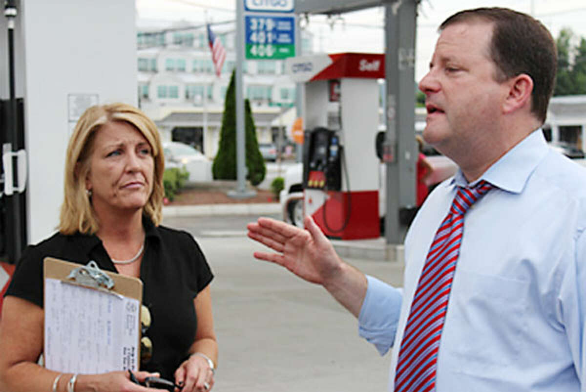 State Sen. John McKinney, who is running for governor, makes the case against a fuel tax increase in June while joined by state Rep. Brenda Kupchick. (Photo by John Kovach)