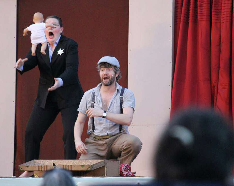 "A scene from the Valley Shakespeare Festival's ""The Comedy of Errors"" in a downtown Shelton park."