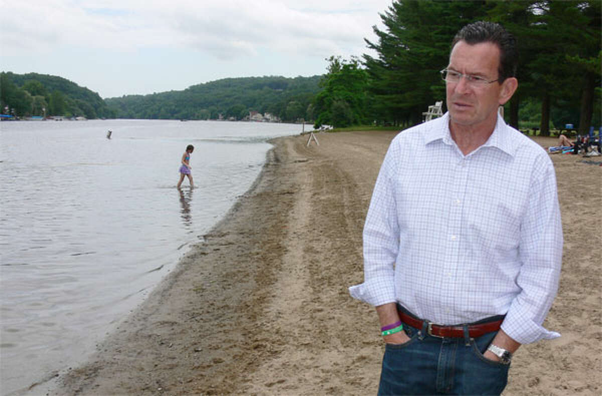 Gov. Dannel P. Malloy on the beach at Indian Well State Park in Shelton during a 2013 park promotion tour.