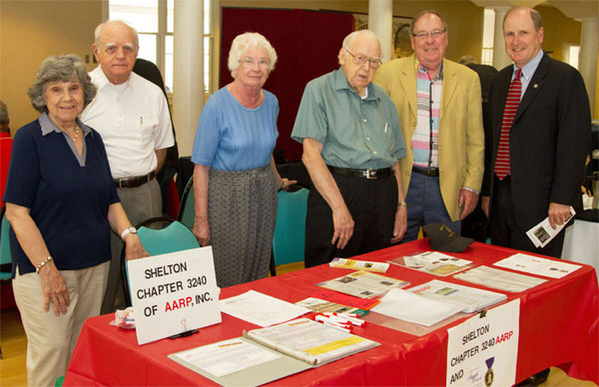 State Sen. Kevin Kelly, far right, meets with members of Shelton Chapter 3240 of AARP during last tear;s Senior Health & Wellness Fair at the Shelton Senior Center.