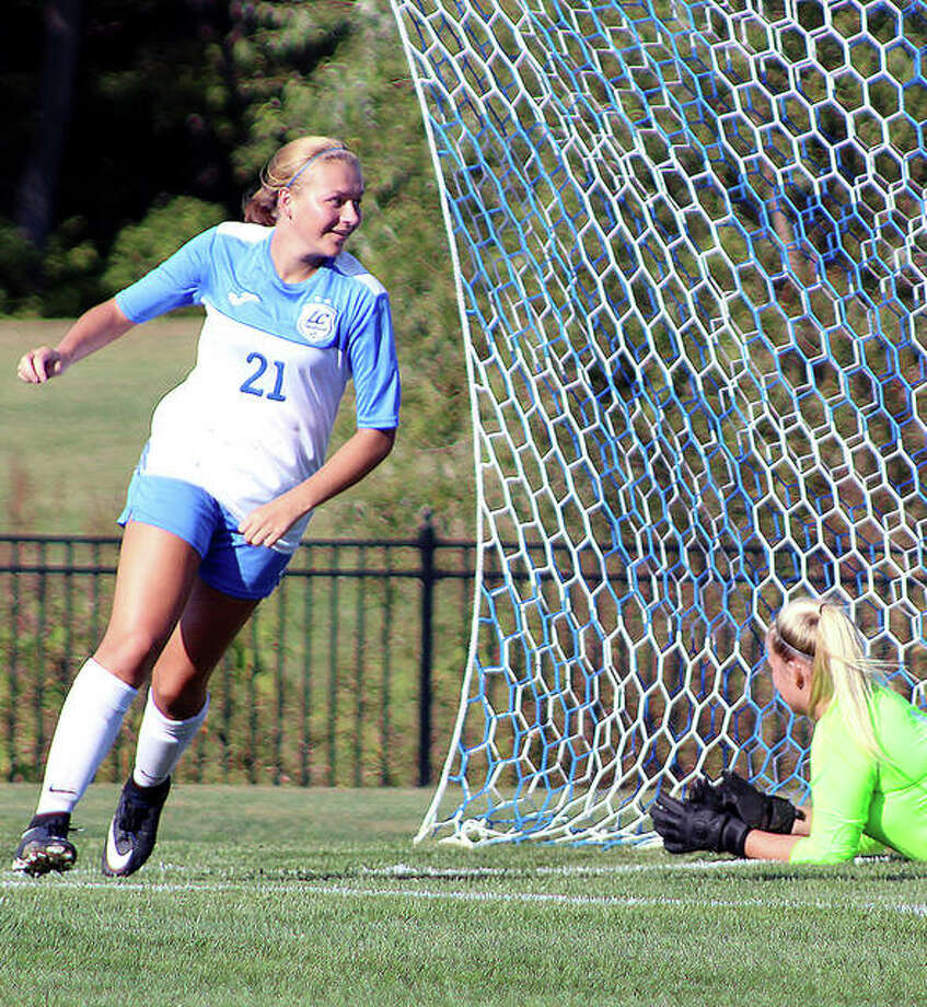LC's Emma Lucas, a Roxana High grad, is all smiles after scoring a goal last season. Lucas is among the returnees for the Trailblazers, who have added seven recruits. Players will begin summer conditioning June 25 and will begin preseason practice in August. Photo: Pete Hayes | The Telegraph