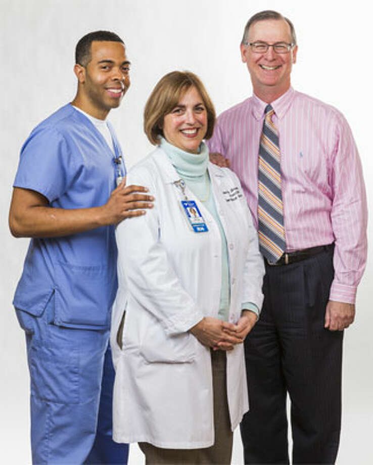 Edward McCreery III of Shelton, right, is shown with Emergency Department Director Anita Shrum and Charles Staples.