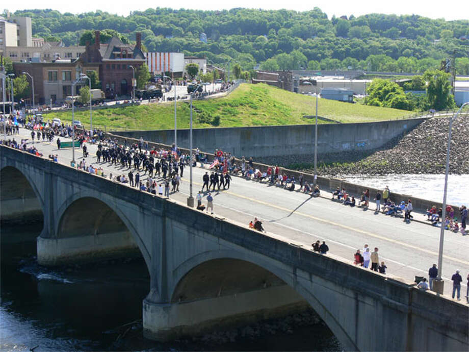 The start of the parade makes its way onto the Derby/Shelton Bridge, where the opening ceremony was held.