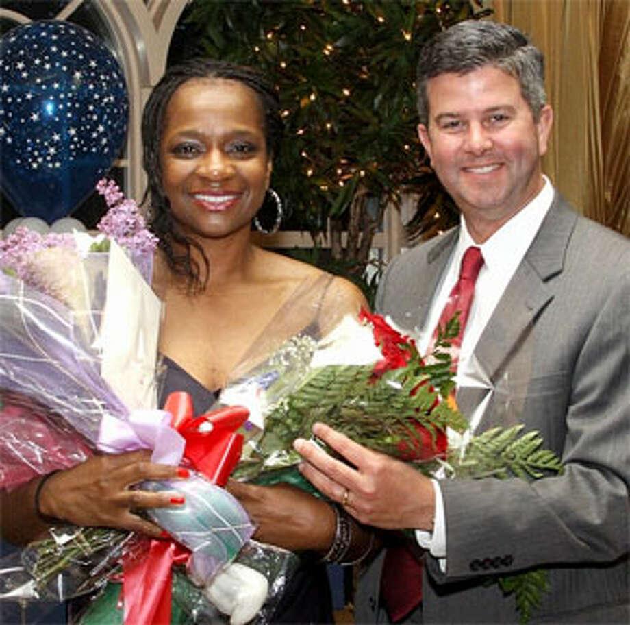 Shawna Hall of Shelton, Bridgeport Hospital's Employee of the Year, with Bridgeport Hospital President and CEO Bill Jennings.