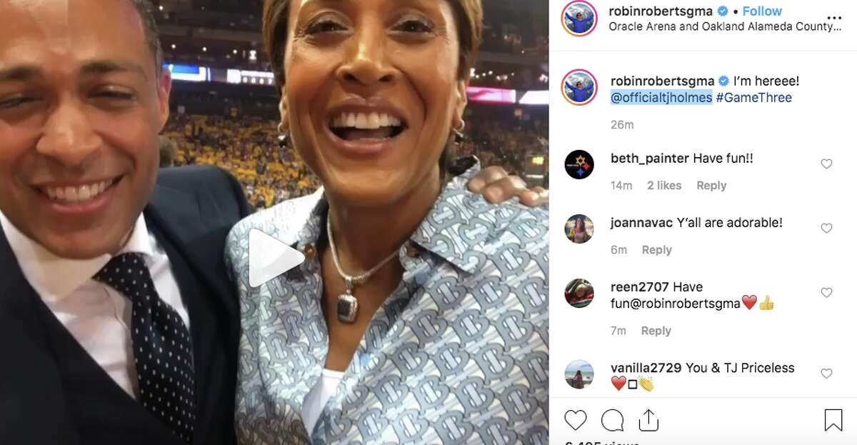Robin Roberts and T.J. Holmes at Game 3 of the 2019 NBA Finals.