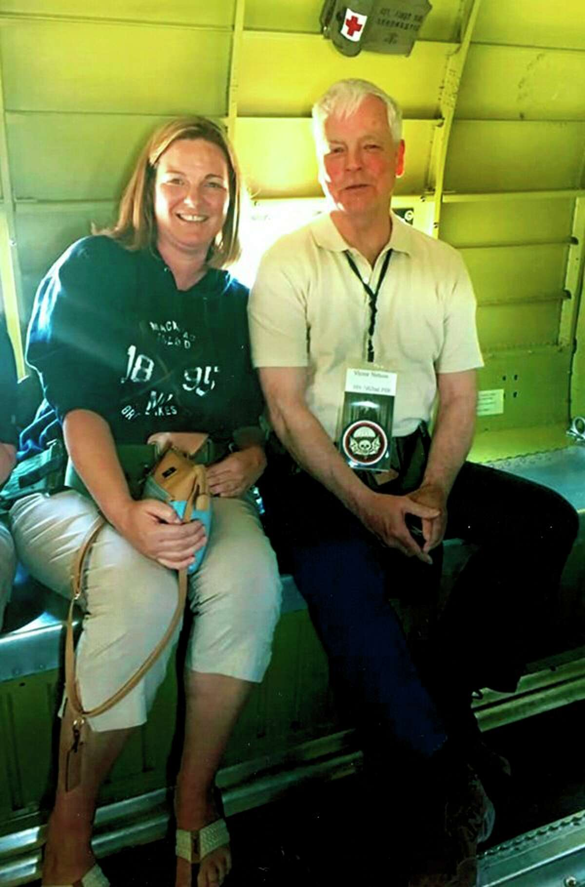 Shawna Anderson and her dad Chip Nelson are photographed in the plane 'That's All Brother' in Peachtree City, Georgia, for the 16th Annual WWII Heritage Days.