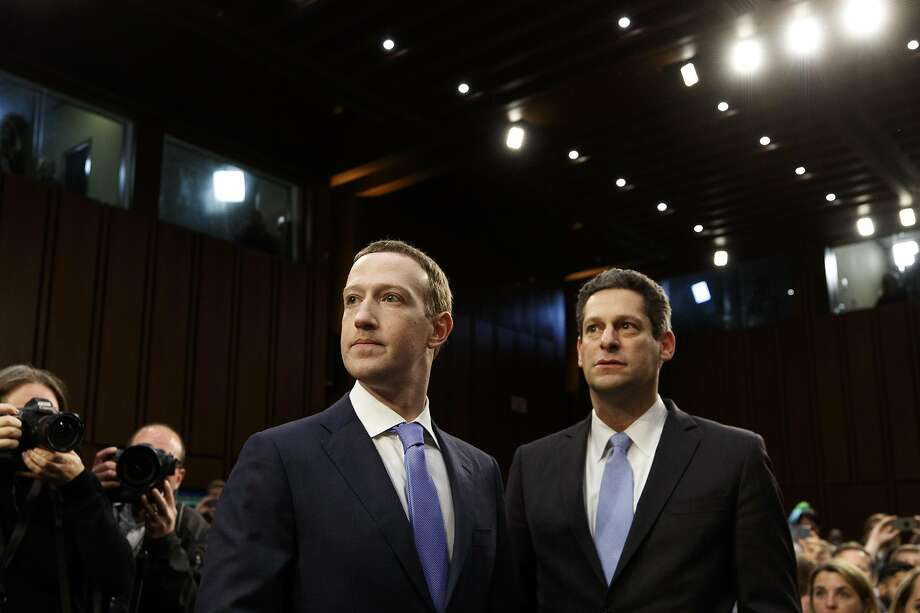 Facebook CEO Mark Zuckerberg and Joel Kaplan, the vice president of global public policy, before the start of a Senate hearing in April 2018. Big tech firms are now spending more freely on lobbying. Photo: Tom Brenner / New York Times 2018
