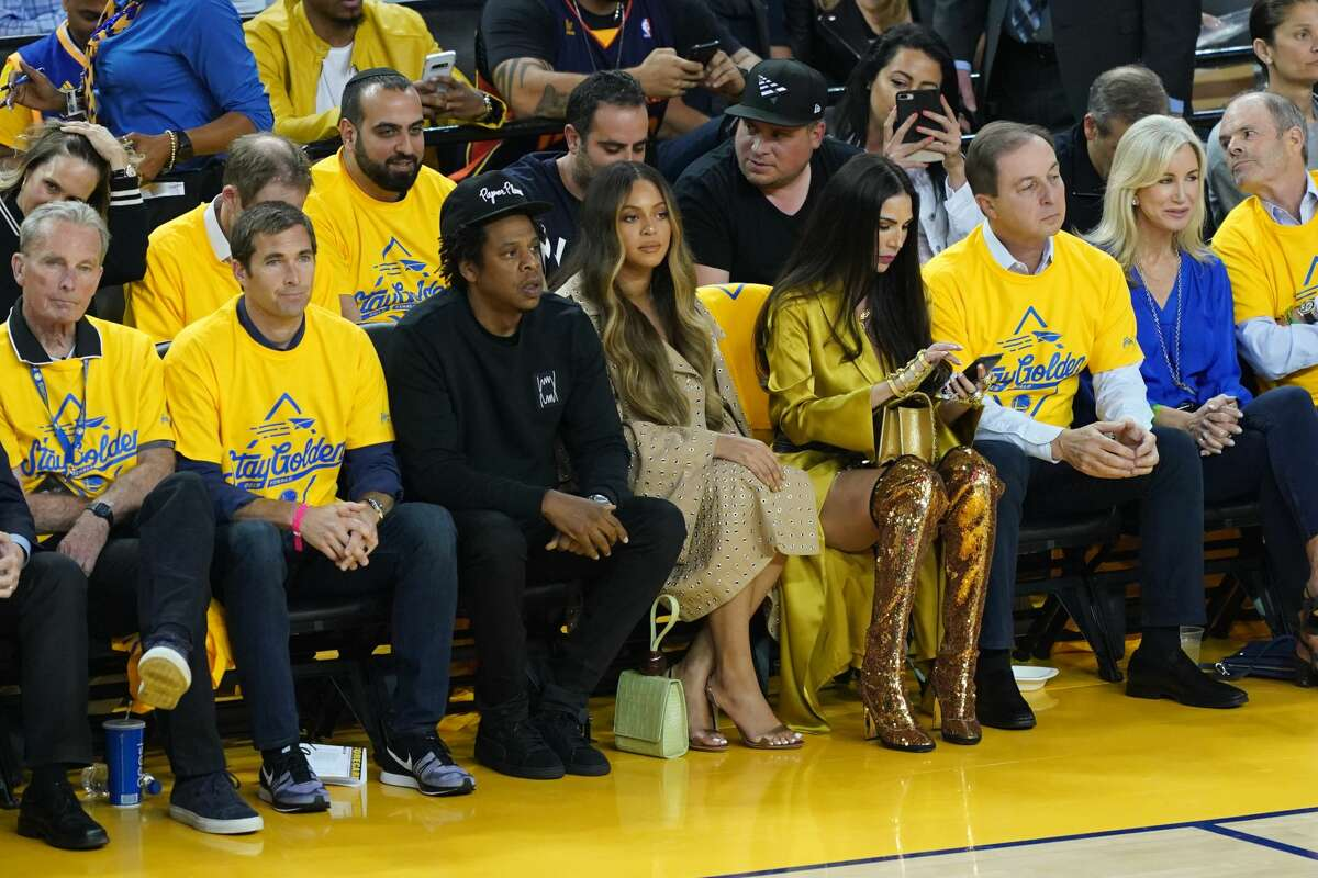 Notable figures at Warriors 2019 playoff games Jay-Z and Beyonce attend Game Three of the 2019 NBA Finals between the Golden State Warriors and the Toronto Raptors at ORACLE Arena on June 05, 2019 in Oakland, California.