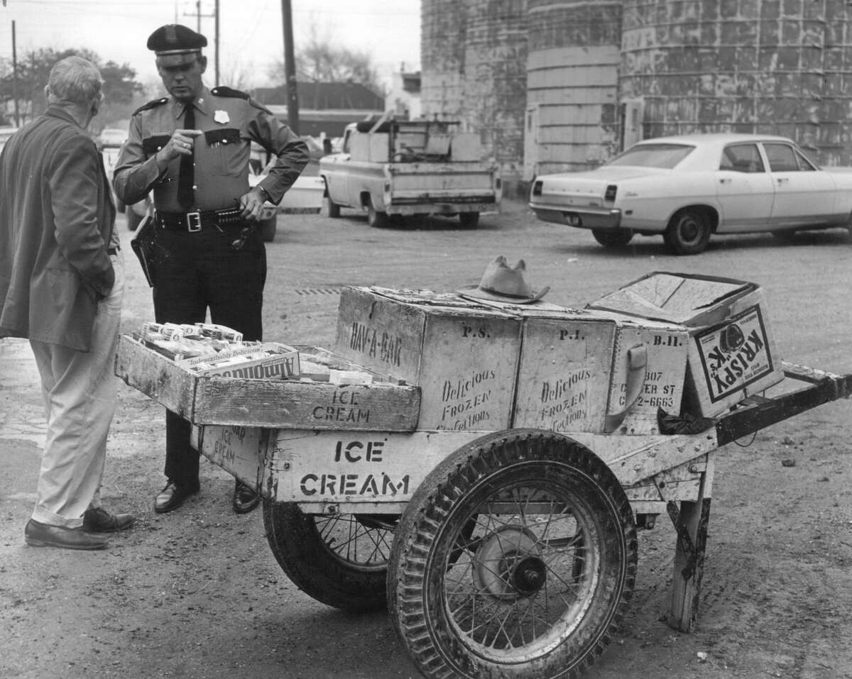 From the Jan. 30, 1969, Houston Chronicle: Ben W. (Red) Andrews, 67, who has pushed his hand cart through the Washington Avenue area for decades, was shot and critically wounded early today by two young men who robbed him as he stood at the corner of Hemphill and Summer, hawking his ice cream bars. He was felled by three bullets in the chest, and was in Ben Taub General Hospital. Captain Leon Colley said the bandits