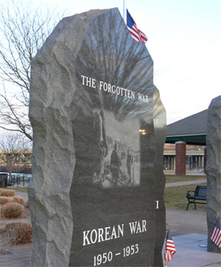 The Korean War veterans monument at the Riverwalk in downtown Shelton.