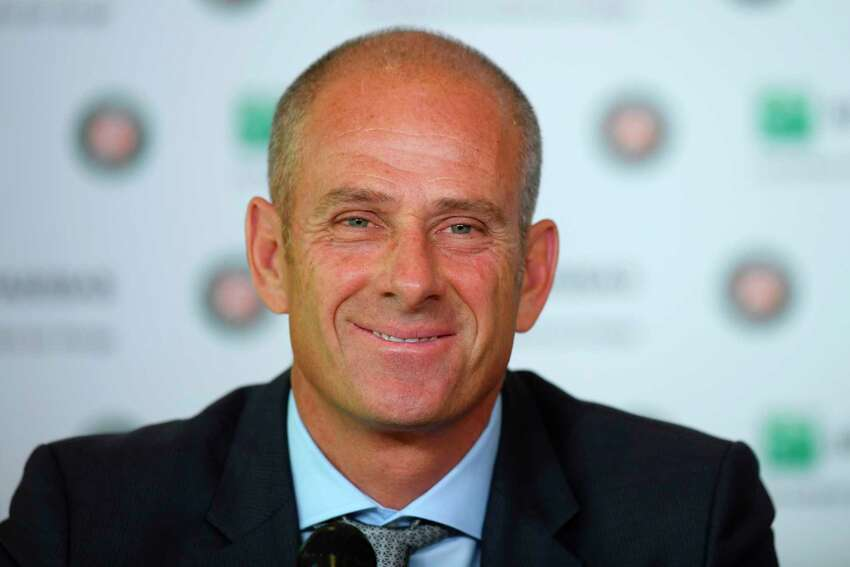 Former French tennis player and director of the Roland-Garros tennis tournament Guy Forget delivers a press conference at the Roland Garros 2017 French Open in Paris on June 11, 2017. / AFP PHOTO / GABRIEL BOUYSGABRIEL BOUYS/AFP/Getty Images