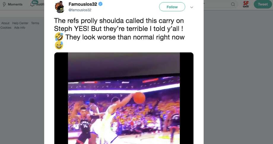 People watching Game 3 of the NBA Finals between the Golden State Warriors and the Toronto Raptors were quick to point out that Steph Curry had an obvious carry in the first quarter, even calling him 'Steph Carry.' Photo: Screenshot Via Twitter