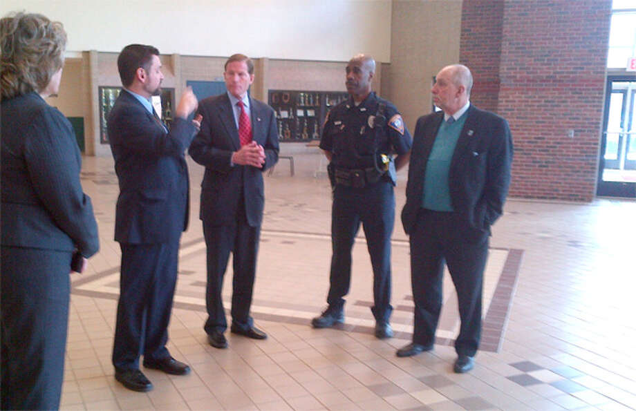 On the recent security tour of Shelton Intermediate School are, from left, Asst. School Supt. Lorraine Rossner, Headmaster Kenneth D. Saranich, U.S. Sen. Richard Blumenthal, SIS School Resource Officer Selwyn Sebourne and School Supt. Freeman Burr.