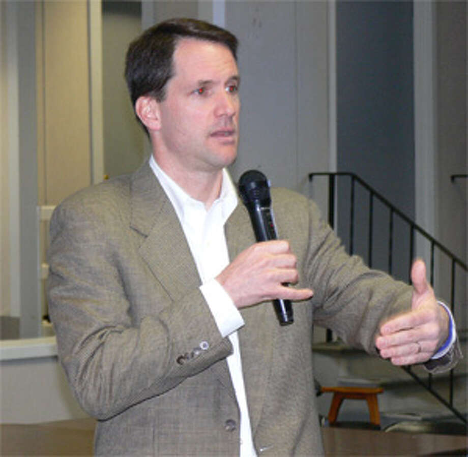 Congressman Himes makes a point while meeting with about 125 constituents during a town meeting at Shelton City Hall.