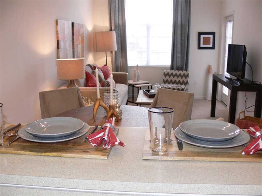 A look inside the living room of a one-bedroom model unit in the new Avalon Shelton complex.