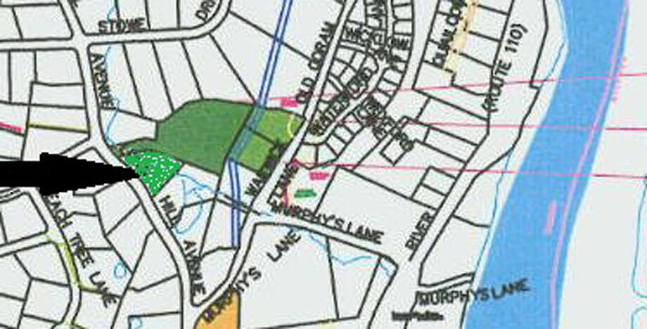 A map showing the new land trust property on Long Hill Avenue, on the lower left where the arrow points.