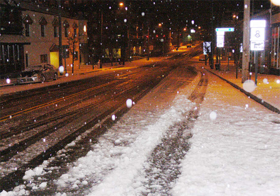 A view of Howe Avenue in downtown Shelton at 1:20 a.m. Tuesday, looking south from Bridge Street toward Center Street.