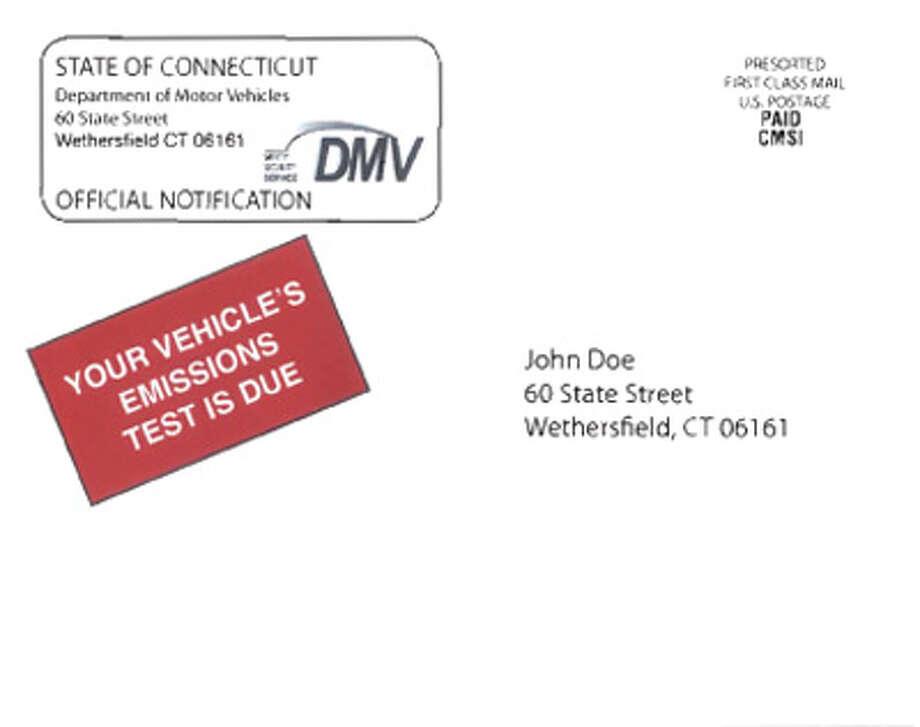 Above: The front of the new DMV emissions test reminder postcard design.