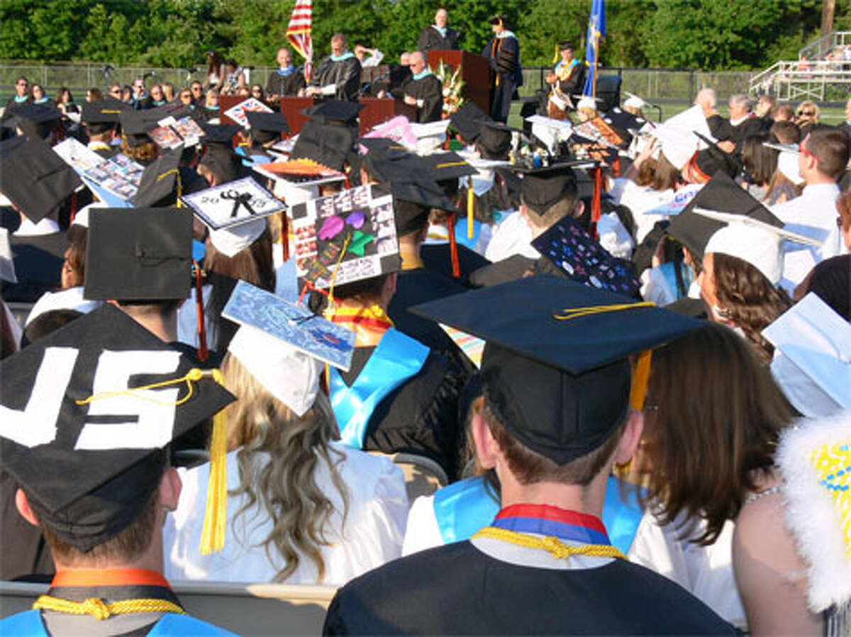 A scene from the 2013 commencement at Shelton High School.