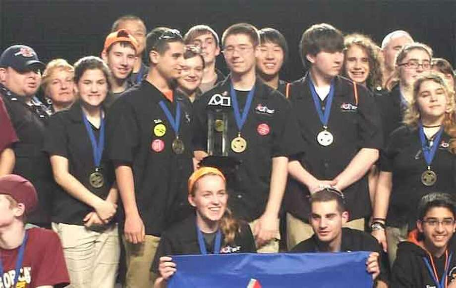 The winning Shelton High School robotics team at the New England championship in Boston.