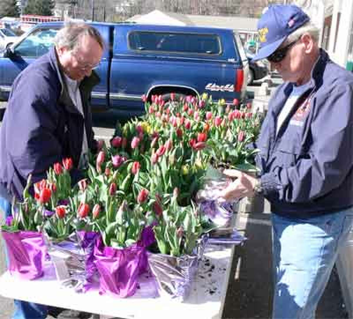 Company 5 members Jack Finn, left, and Don DeBlois prepare the selection of colorful tulips.