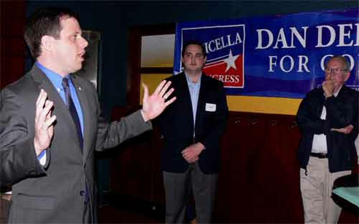 Former two-term state Sen. Dan Debicella of Shelton speaks to supporters at the kickoff rally.