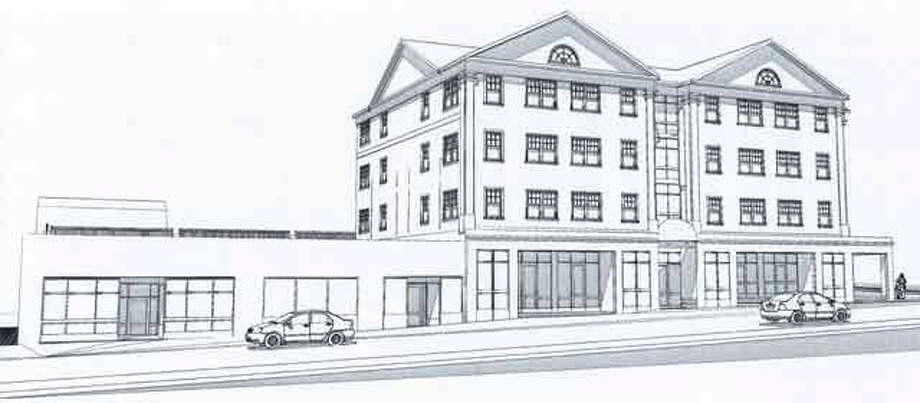 An architectural rendering of the proposed Shelton Phoenix Building as seen from Howe Avenue.