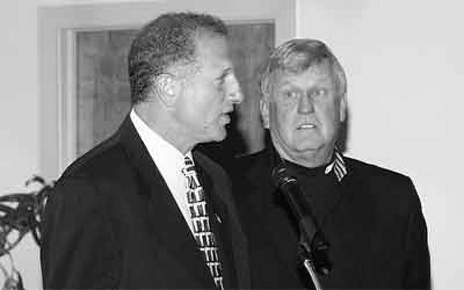 Former Major League Baseball pitcher and Bridgeport Bluefish manager Tommy John, right, with Shelton Mayor Mark Lauretti at an event in the past.