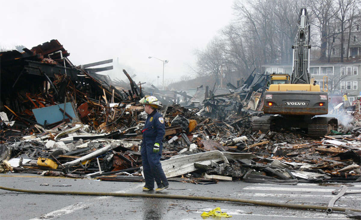 Shelton Fire Marshal James Tortora inspects the Howe Avenue fire scene.