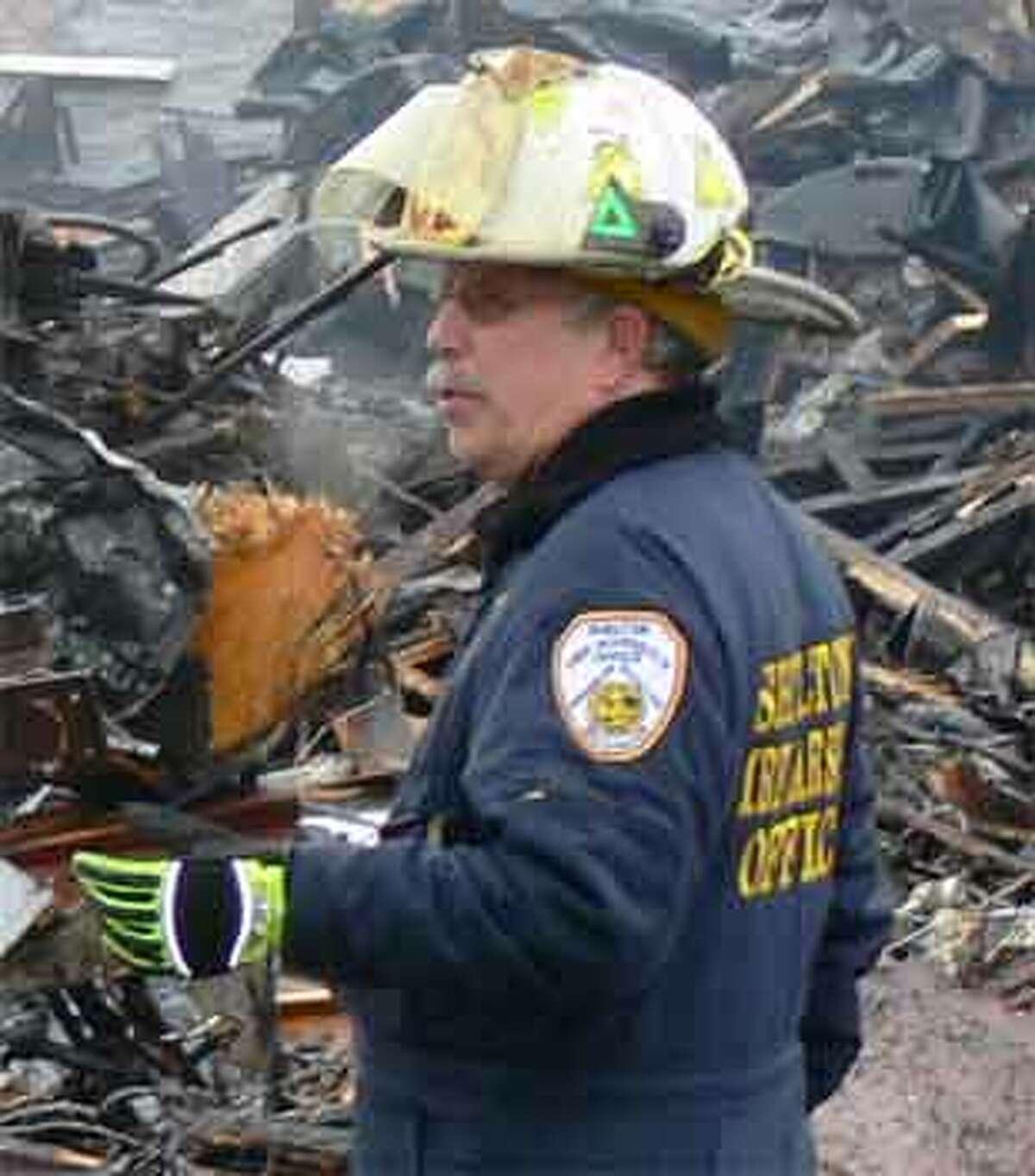 Shelton Fire Marshal James Tortora at a major fire scene.