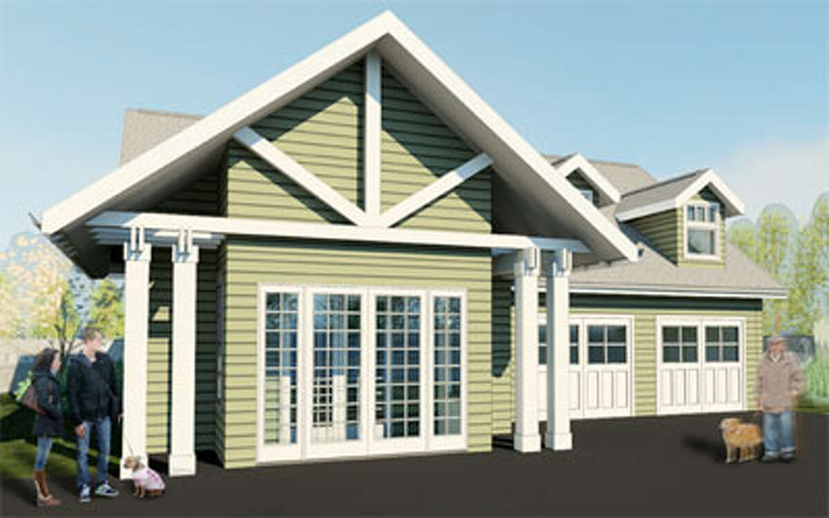 A computer rendering of the new Shelton animal shelter on Riverdale Avenue designed by Bridgeport-based Wiles Architects to have a residential look.
