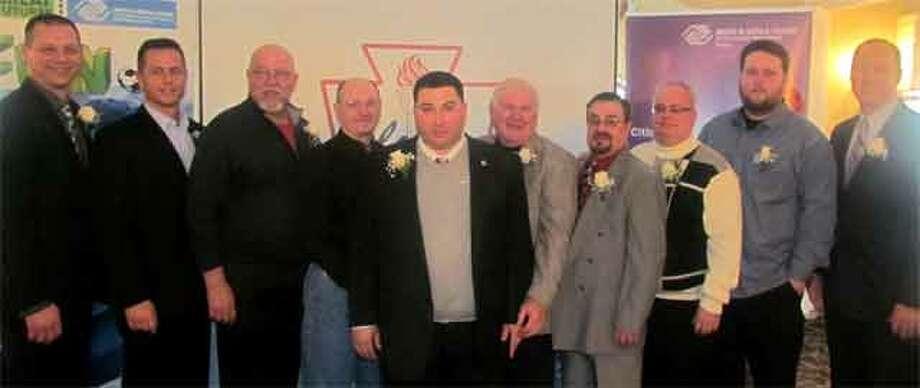 From left, local Boys & Girls Club Alumni Association Hall of Fame inductees Adam Roscoe, Paul Picirillo, Ed Deptula, Joe Kirei, Mike Cotela Jr., Walter Oko Sr., Paul Padilla, Mark Andersen, Cody Winslow and John Zaprzalka.