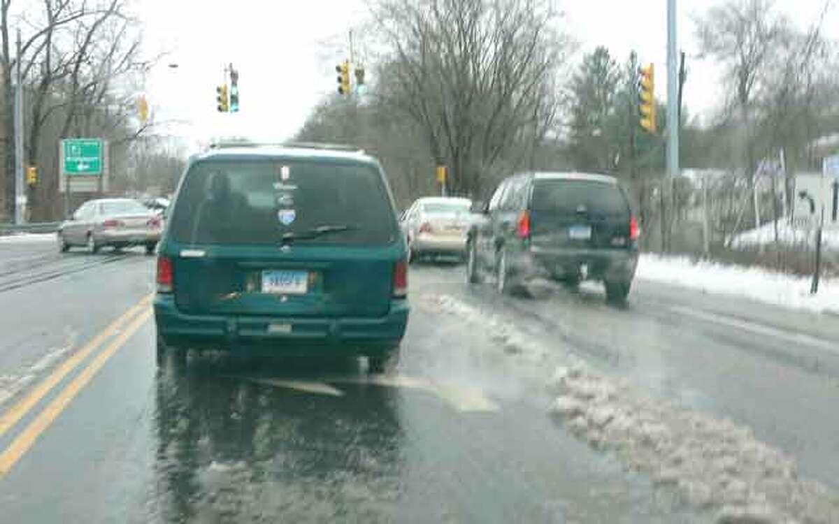 Bridgeport Avenue heading south, near Route 8's Exit 13.