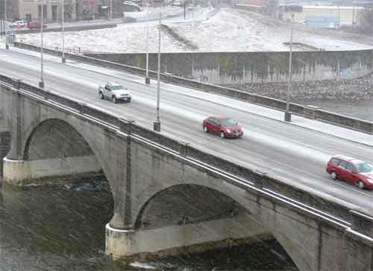 The Derby-Shelton Bridge from Shelton, looking toward the Derby side.