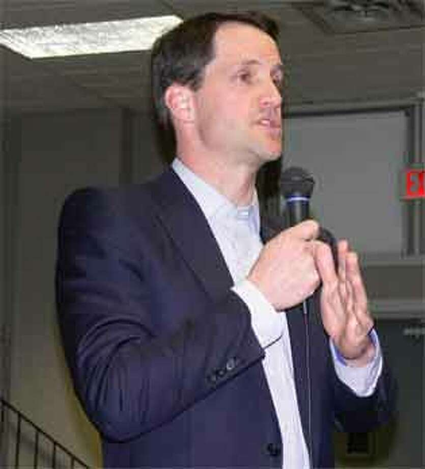 U.S. Rep. Jim Himes speaks to constituents at a town hall-style meeting at Shelton City Hall.