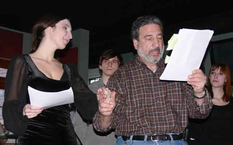 Anthony F. Simonetti, who serves as an alderman in Shelton, interacts with actress Sarah Ann Masse during the show.