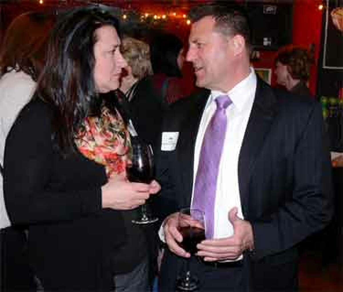 Rosann Polydys and her husband Jay enjoy time together while networking at the Business After Hours. Jay, who grew up in Shelton, is a technology consultant and owner of Total Cloud Connections, and Rosann works for Benchmark Senior Living.