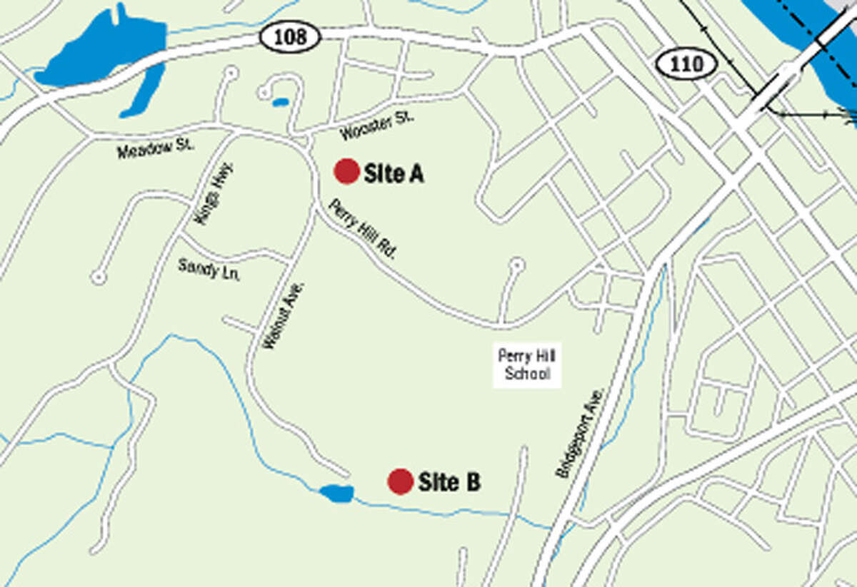 This map shows two possible sites being considered for 120-foot-tall cell-phone towers by AT&T. The locations are on property owned by the Highland Golf Club, with its golf course being on both sides of Perry Hill Road. Opposition has centered on Site A.