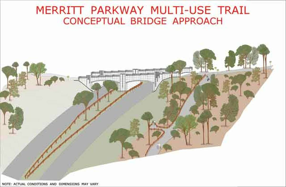 A rendering of what the Merritt Parkway multi-use trail might look like.