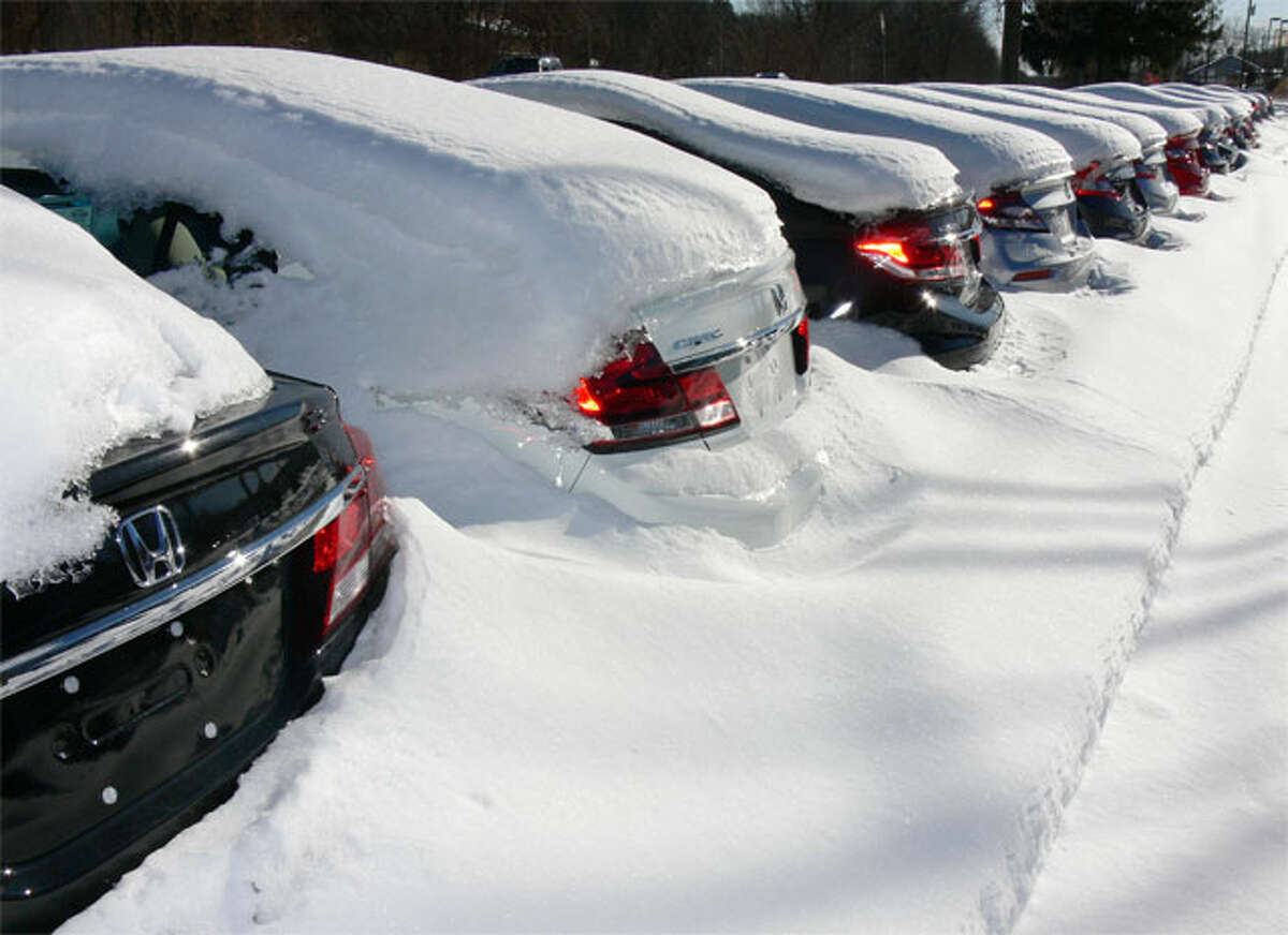 Earlier this week, new Honda vehicles being stored off Bridgeport Avenue by Curtiss-Ryan were barely noticeably under accumulating snow from the winter.